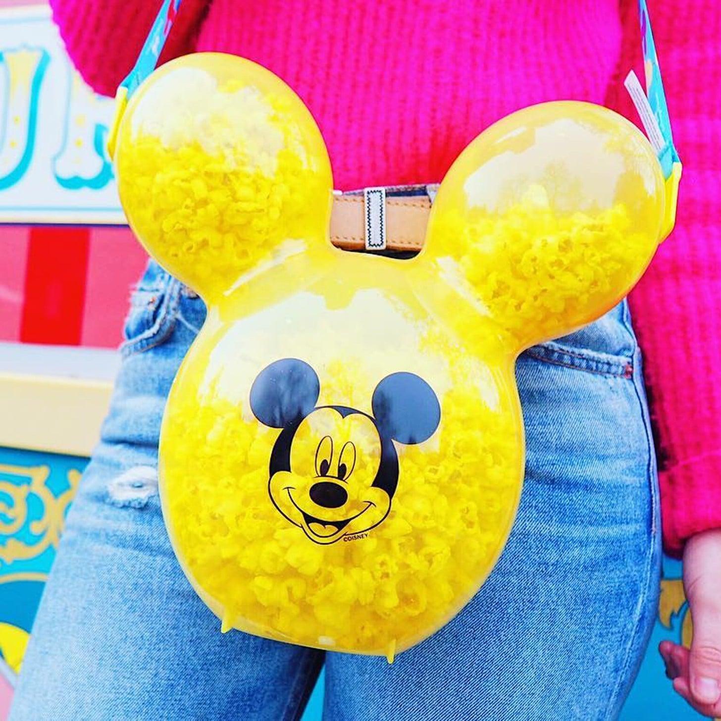 NEW Disneyland Mickey Mouse Balloon Head 60th Anniversary Popcorn Bucket Blue