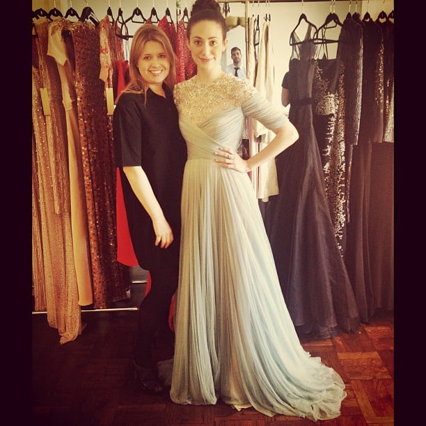 "Emmy Rossum got to ""play dress-up"" with designer Jenny Packham and tried on some gowns from her recent runway collection. Source: Instagram user emmyrossum"