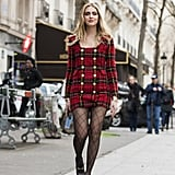 With a Tartan Dress and Platform Shoes