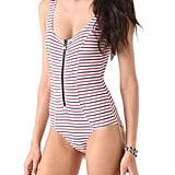 Whether you're lounging poolside — or you choose to wear this patriotically striped one-piece as a cool bodysuit — we'll know what team you're rooting for.  Lisa Marie Fernandez Striped Jasmine Maillot ($495)