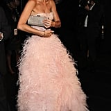 The side view of Angie Harmon's pink gown is just as breathtaking.