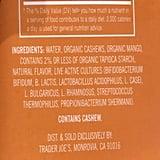 Ingredients in Mango Trader Joe's Cultured Cashew Beverage