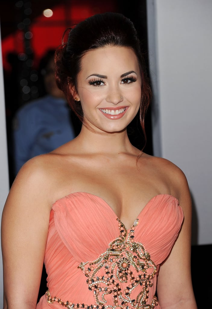 Demi Lovato was pretty in peach.