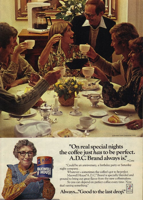Let's all toast our coffee cups to the pearl necklace your husband awkwardly gave you at this dinner party!