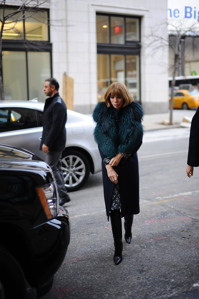 Anna Wintour worked a richly hued fur into her polished mix.