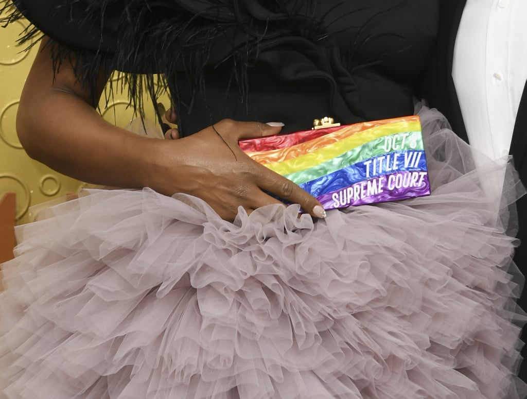 Laverne Cox's Edie Parker Rainbow Clutch at the 2019 Emmy Awards