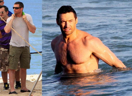 Photos of Hugh Jackman Shirtless in the Sea Filming an Advert