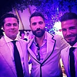 Actor Luca Calvani, who appears in Guy Ritchie's The Man From U.N.C.L.E., posed with Brad and David.
