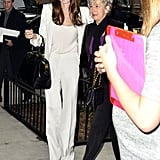 Angelina Jolie had Brad Pitt's mother, Jane, keeping her company during her early morning press rounds in NYC.