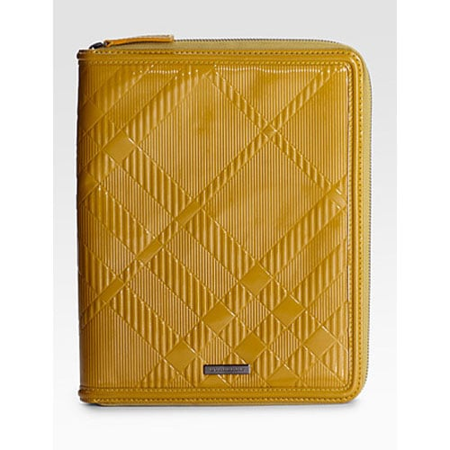 Embossed Check Leather Cover For iPad