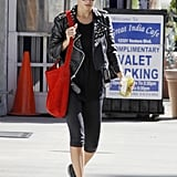 Nicole Richie wore her studded leather jacket to the gym in LA.