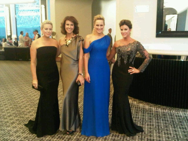 Channel Seven's Samantha Armytage, Natalie Barr, Melissa Doyle and Kylie Gillies in their Logies frocks.