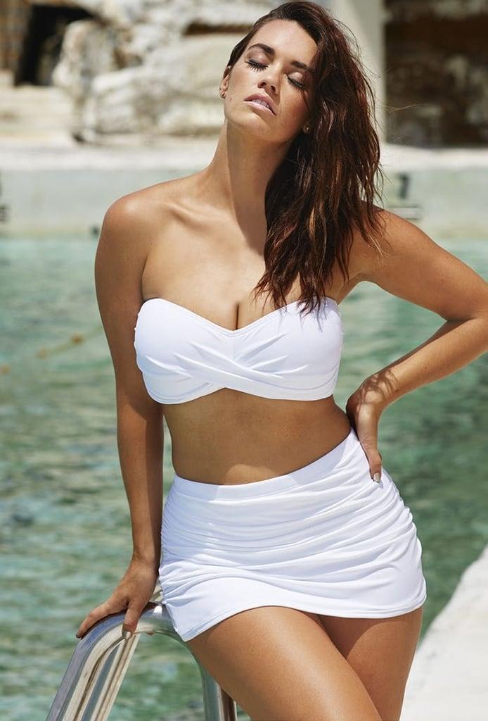 Swimsuits For All Valentine White Sand Shirred Bikini