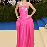 Lily-Rose Depp Wearing a Hot-Pink Strapless Gown