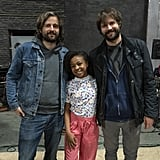 Matt and Ross Duffer pose with Priah Ferguson (aka Hawkins queen bee Erica).