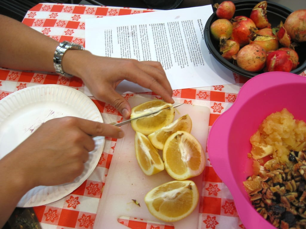 We were encouraged to experiment with different fruit combinations. Mine was a Meyer lemon, grapefruit, and fig jam.  To begin making the jam, I washed all the fruit. Then I cut it up into extremely small pieces. For citrus fruits, I included the pulp and just a tiny bit of peel, excluding the pith.