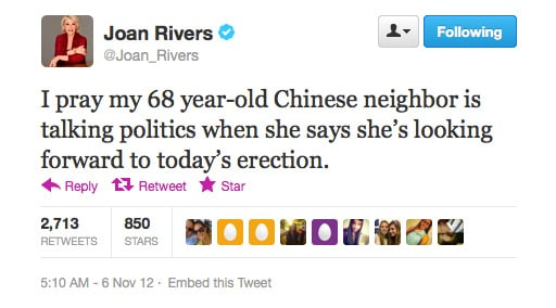 We'll join you in prayer, Joan Rivers.