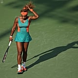 Serena Williams Wearing Teal and Orange at the Sony Ericsson Open in 2014