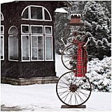 Metal Bike Wheel Snowman