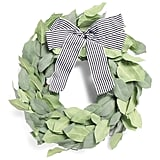 Faux Leaves Bow Wreath