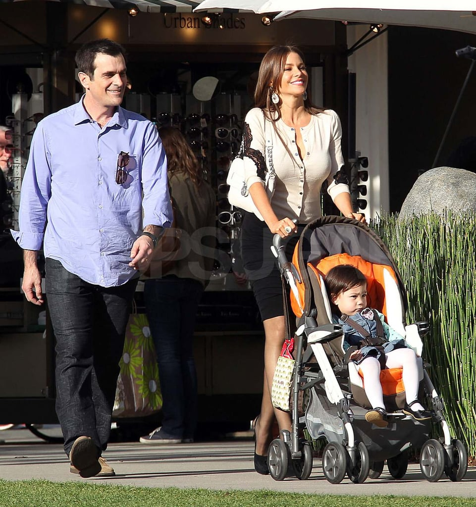 Ty Burrell and Sofia Vergara filmed a scene for Modern Family in LA yesterday. The costars were joined by one of their smallest onscreen family members, Lily, after indulging in a cupcake between takes. Sofia's sweet treat didn't stop her from slipping into a tight dress to continue shooting solo, though, in her over-the-top character's latest sexy outfit. The whole cast is coming off an exciting award season, during which they took home a Screen Actors Guild Award for outstanding ensemble performance. Sofia has even more to celebrate herself as she just nabbed a new job as a spokesperson for Xfinity TV in Spanish.