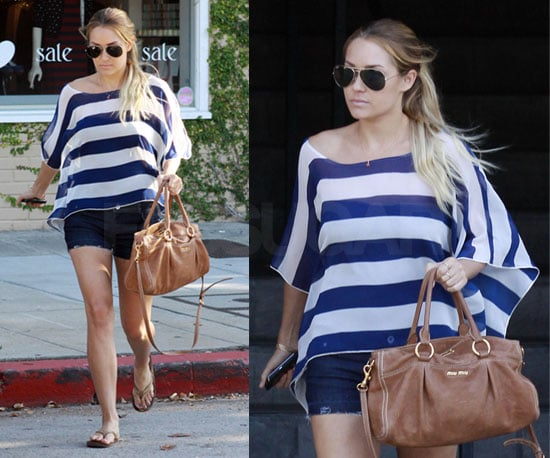 Lauren Conrad Wearing Striped Dolman Top and Tan Miu Miu Bag