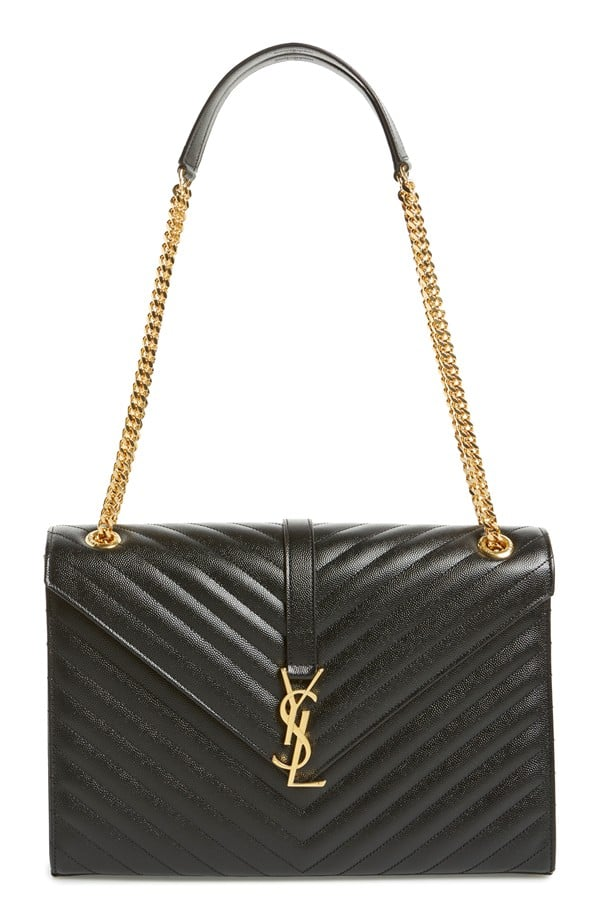 Saint Laurent Large Monogram Grained Leather Shoulder Bag ($2,690)