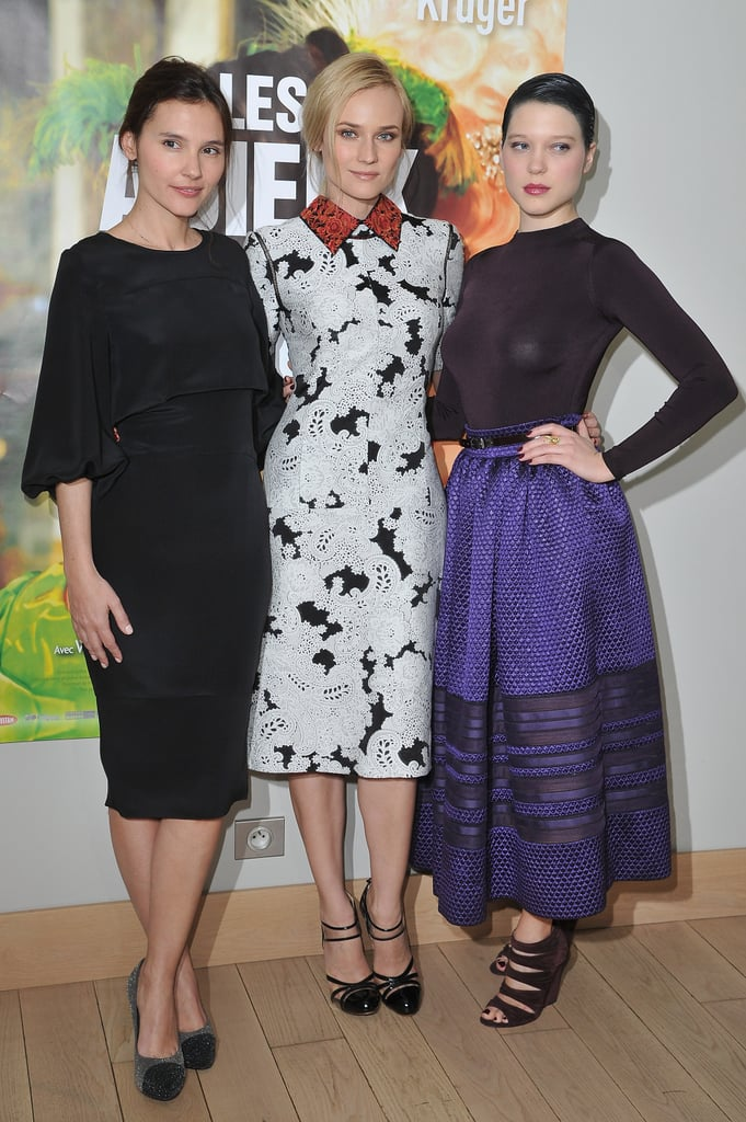 Diane Kruger attended the premiere of her movie Les adieux à la reine, or Farewell, My Queen, in Paris this evening with her costars Léa Seydoux and Virginie Ledoyen. Diane wore a lace, collared dress by one of her favorite designers, Derek Lam, for the occasion. The actress's latest film features her as Marie Antoinette and will open in select theaters stateside on March 21. Diane made the trip to France following a recent stay in LA, during which she attended the Vanity Fair Oscars afterparty solo and was spotted getting domestic the following week, running some dressed-down errands. The French premiere of her period film follows the Berlin Film Festival debut in early February. Farewell, My Queen will be Diane's first movie to hit American theaters since the thriller Unknown, which came out in February of last year and starred Diane opposite Liam Neeson and January Jones.