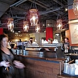 The coffeehouse's light fixtures were either created by local artists or found in salvage shops and repurposed.