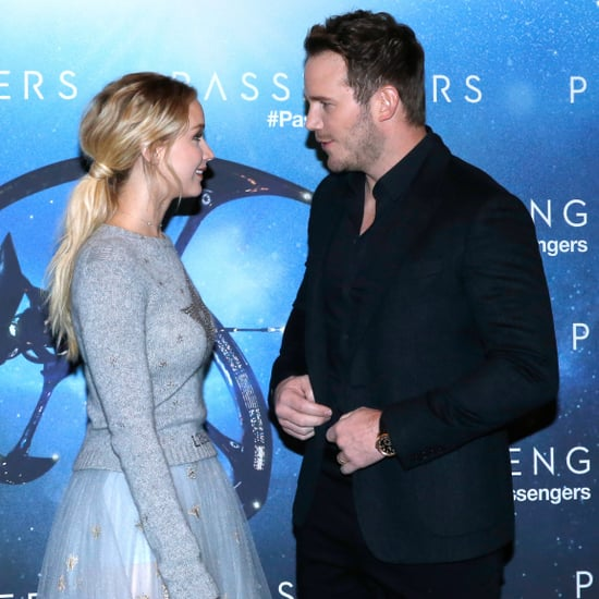 Jennifer Lawrence and Chris Pratt at Paris Passengers Event