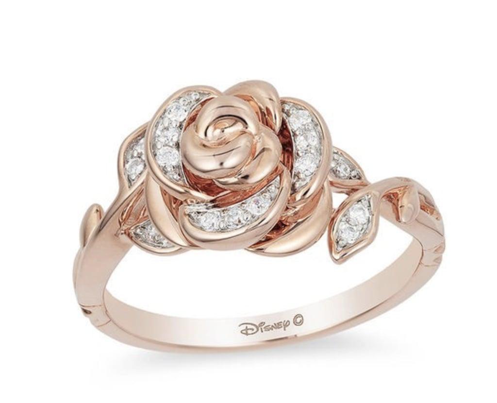 Enchanted Belle Diamond Rose Gold Rose Ring Zales Disney