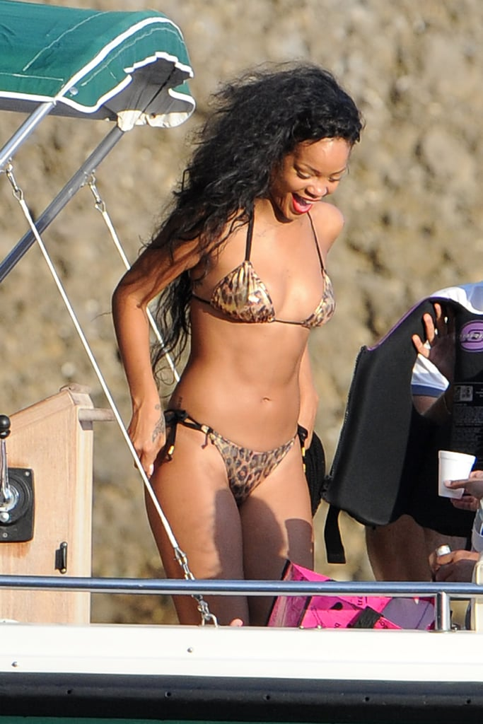 Rihanna showed off her bikini figure while on a yacht off the coast of Portofino, Italy, in late July.