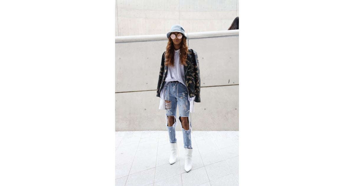 434675a73cd9a Edge up distressed jeans with a camo jacket and coordinating bucket hat. |  Cute Spring Outfits With Jeans | POPSUGAR Fashion Photo 21