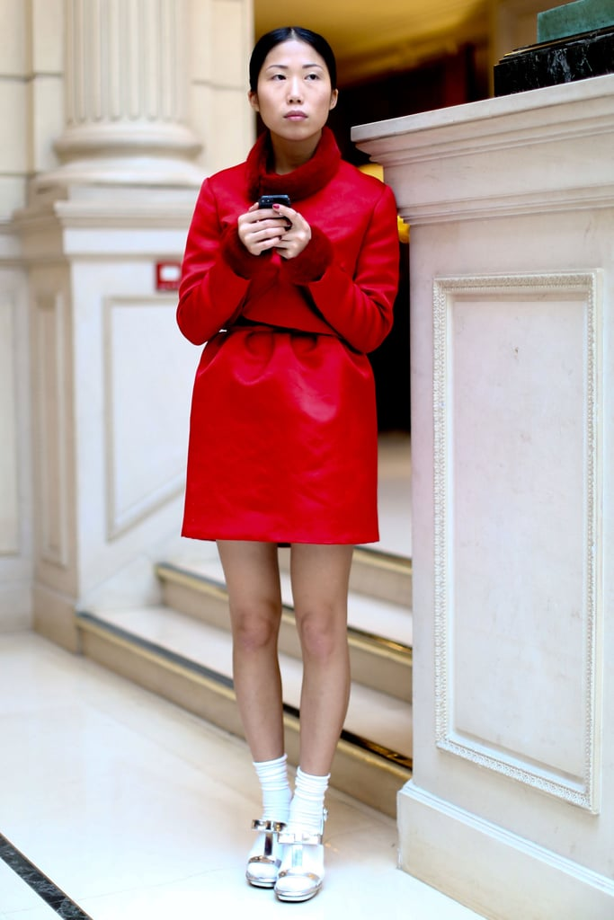 This attendee gave standout red a sweeter side with socks and bow-adorned heels.