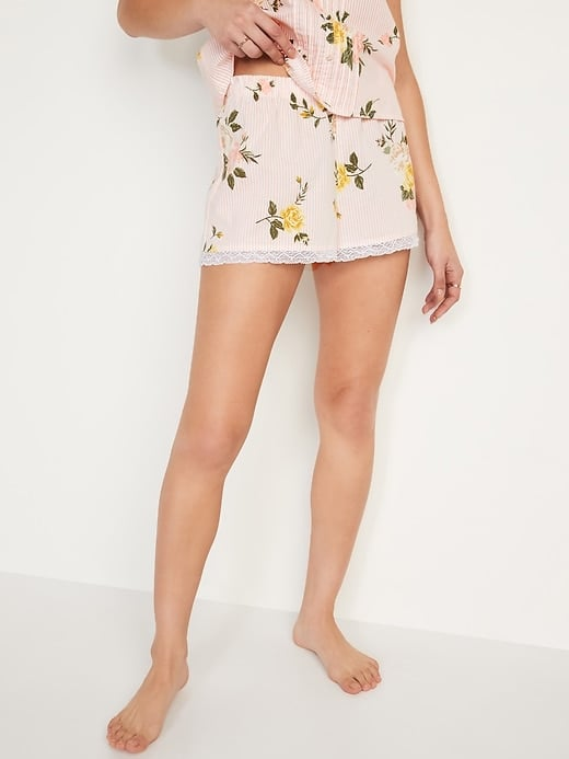 Old Navy Striped Floral-Print Lace-Trim Pajama Shorts