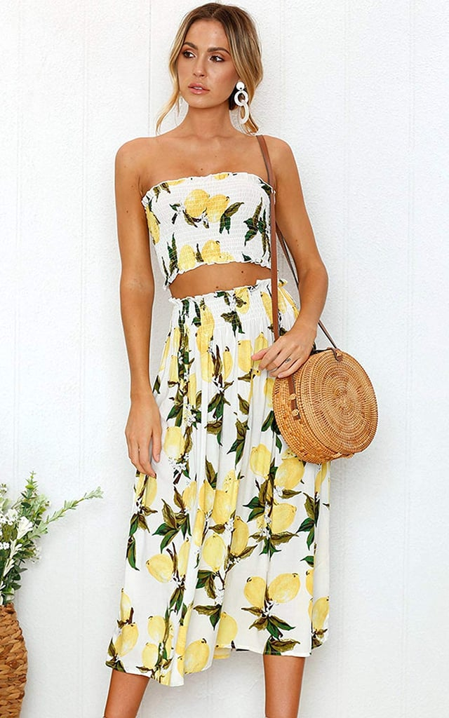 Angashion Floral Crop Top Maxi Skirt Set