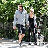 Liam Hemsworth and Miley Cyrus held hands.