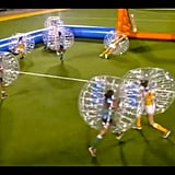 The group date turns out to be bubble soccer.