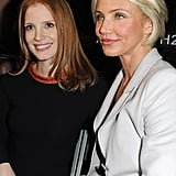 Cameron Diaz sat next to Jessica Chastain at the Armani show.