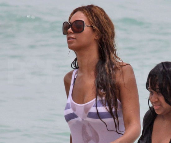 Slide Photo of Beyonce Knowles Swimming in Miami