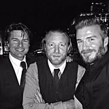 """""""Here's a pic of me with my dear friends Guy Ritchie and Tom Cruise from my Haig Club London dinner this past Sunday."""""""