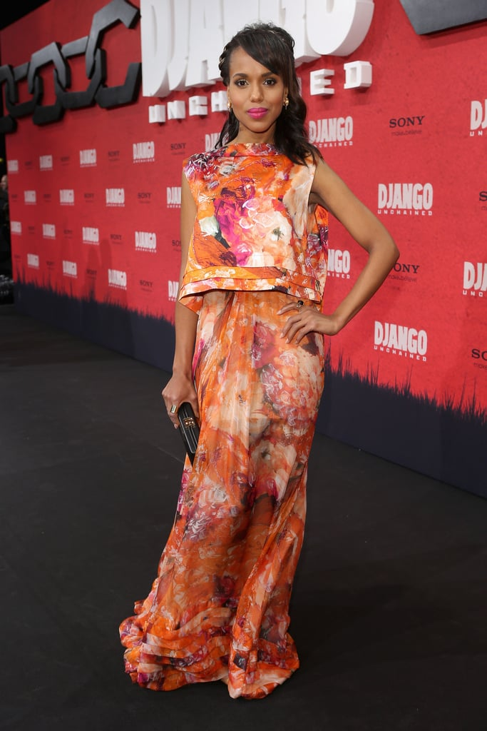 Kerry pulled out all the stops for the film's Berlin premiere in a floaty, feminine floral-print ensemble by J.Mendel. Never one to over accessorize a look, she kept things minimal with a simple box clutch and a pretty fuchsia lip color.