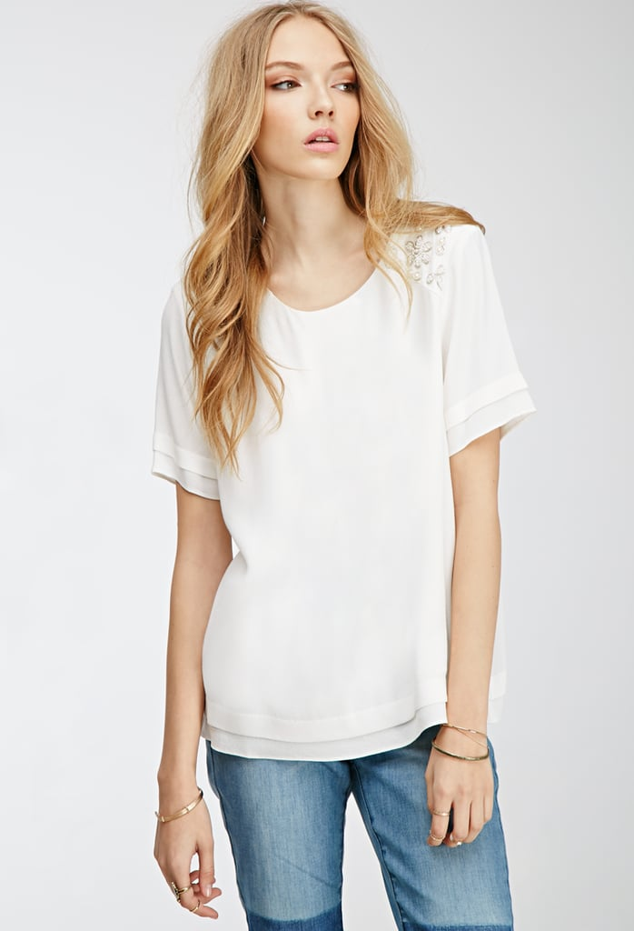 Forever 21 Faux Pearl Embellished Blouse