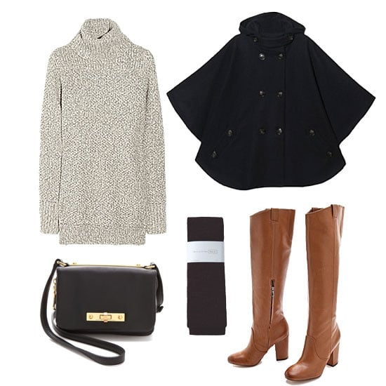 Give your sweater dress an easy, albeit sophisticated finish with your caped topper. Knee-high heeled boots will give your look a little lift (in more ways than one) for a style you could take to the office and right out to dinner afterwards. Get the look:  Sessun Reina Hooded Cape ($340) Aubin & Wills Houndgate Wool and Alpaca-Blend Sweater Dress ($124) Sam Edelman Tucker Boots ($300) Marc by Marc Jacobs Goodbye Columbus Mini Cross Body Bag ($298) Hansel from Basel Wool Rib Tights ($36)