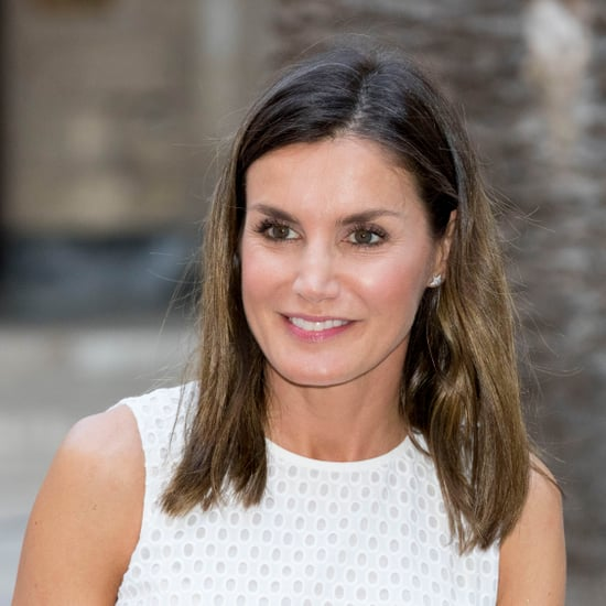 Queen Letizia's Beige Lace-Up Wedges July 2018