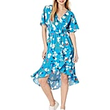 J.Crew Mercantile Short-Sleeve Floral Ruffle Wrap Midi Dress