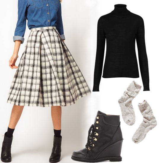 Nothing looks more seasonal than a plaid skirt and a turtleneck. Add on tights, slouched socks, and lace-up boots for a full festive getup. Shop the look:  Topshop Knitted Merino Wool Roll Neck Top ($90) ASOS Check Midi Skirt ($78) Reed Krakoff Outline Boxer ($1,190) Diane von Furstenberg Sapna Lace Up Booties ($378) Wigwam Cypress Socks ($12)