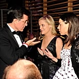 Amy Poehler and Aubrey Plaza chatted with Stephen Colbert at the Time 100 gala in NYC.