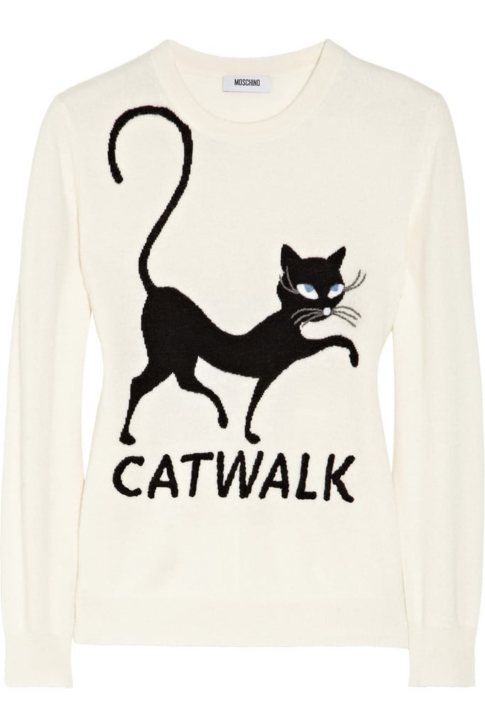 Moschino Cheap and Chic Embroidered Cat-intarsia Cashmere Sweater (489 €)