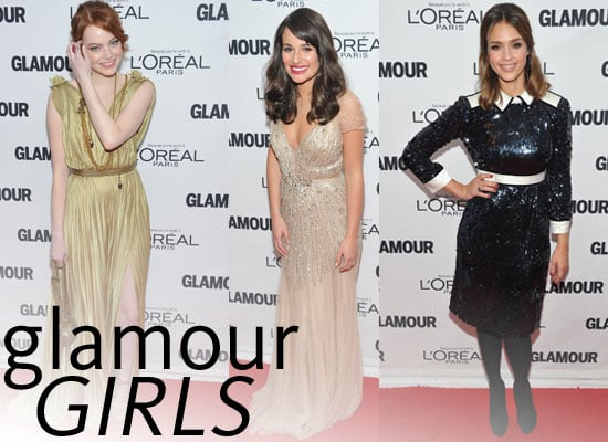 Pictures of Celebrities at Glamour Magazine's Women of the Year Awards including Jessica Alba, Emma Stone, JLo and more!